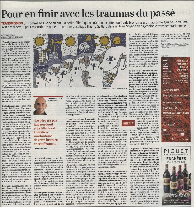 """Paru dans le journal """"Le Temps"""". À propos de """"Intégrer ses héritages transgénérationnels"""""""