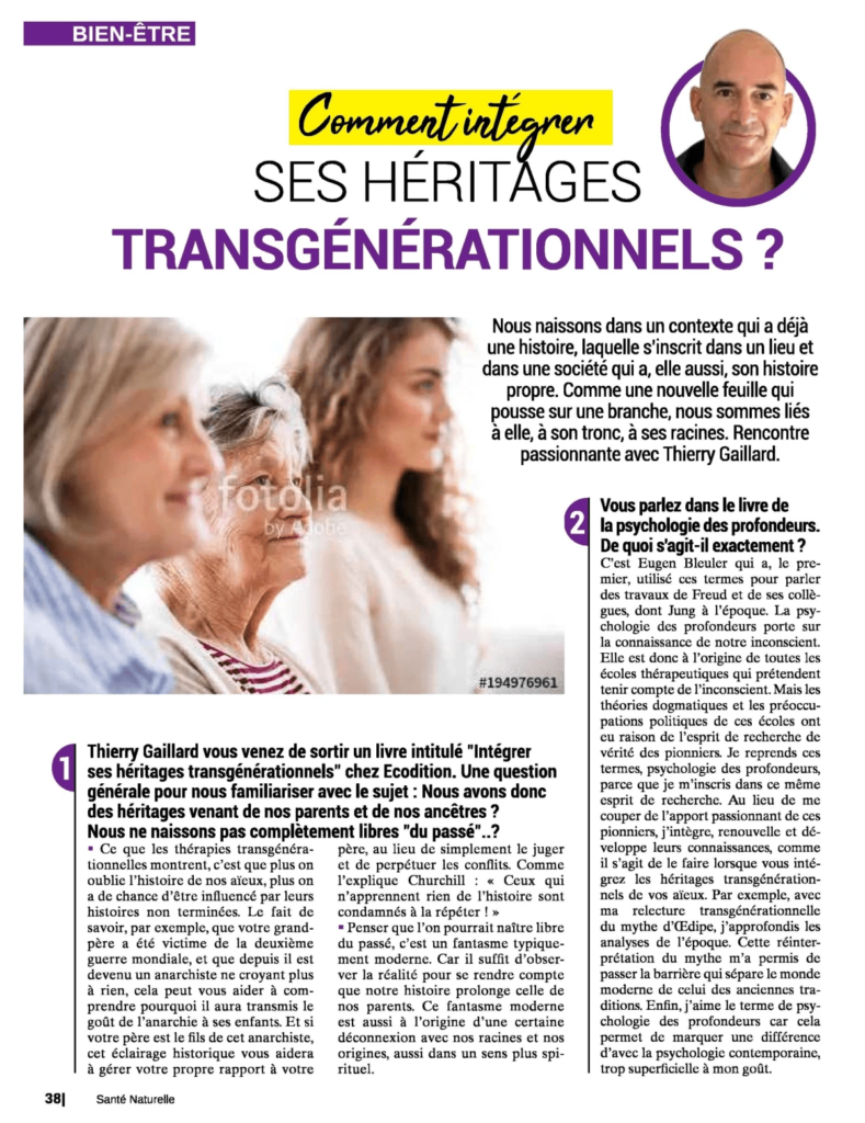"""Paru dans le magazine """"Santé Naturelle"""". À propos de """"Intégrer ses héritages transgénérationnels"""""""